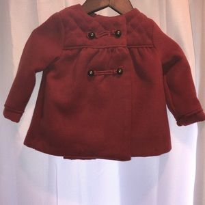 Tahari baby girls red pea coat jacket 6-9M